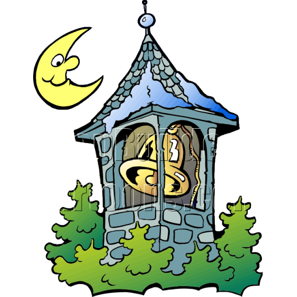 Christmas bell with moon. Tower clipart technological