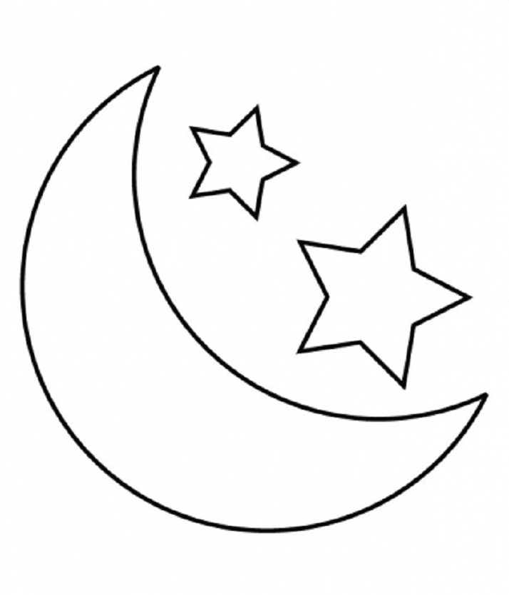 Clipart moon coloring. Free stars and download