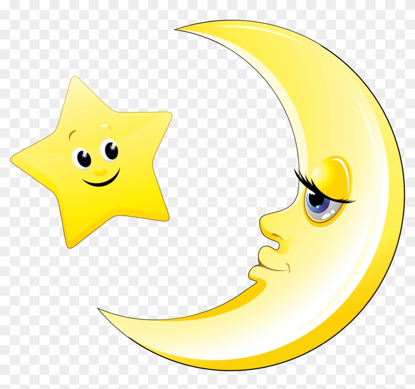 Transparent and star picture. Clipart moon cute