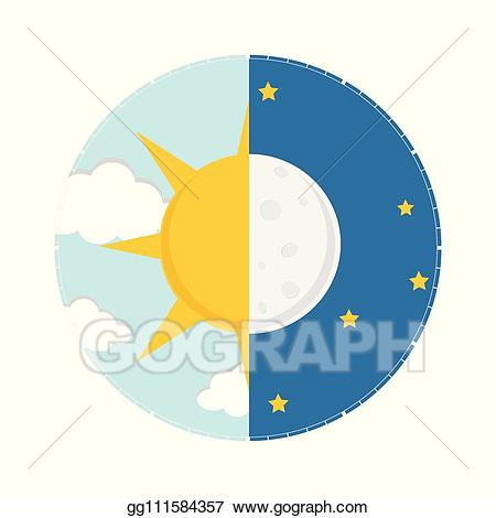 Clipart sun night. Vector art day concept