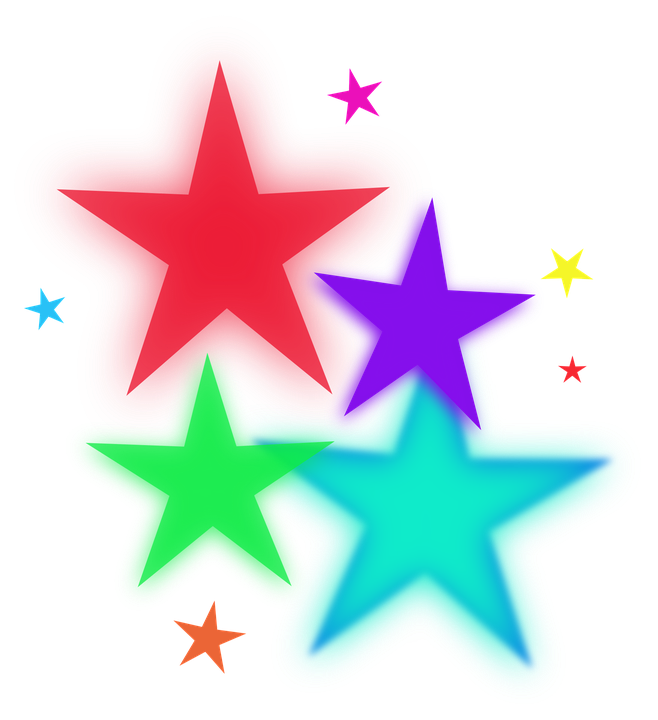 Glitter clipart colorful. Glowing stars clip art