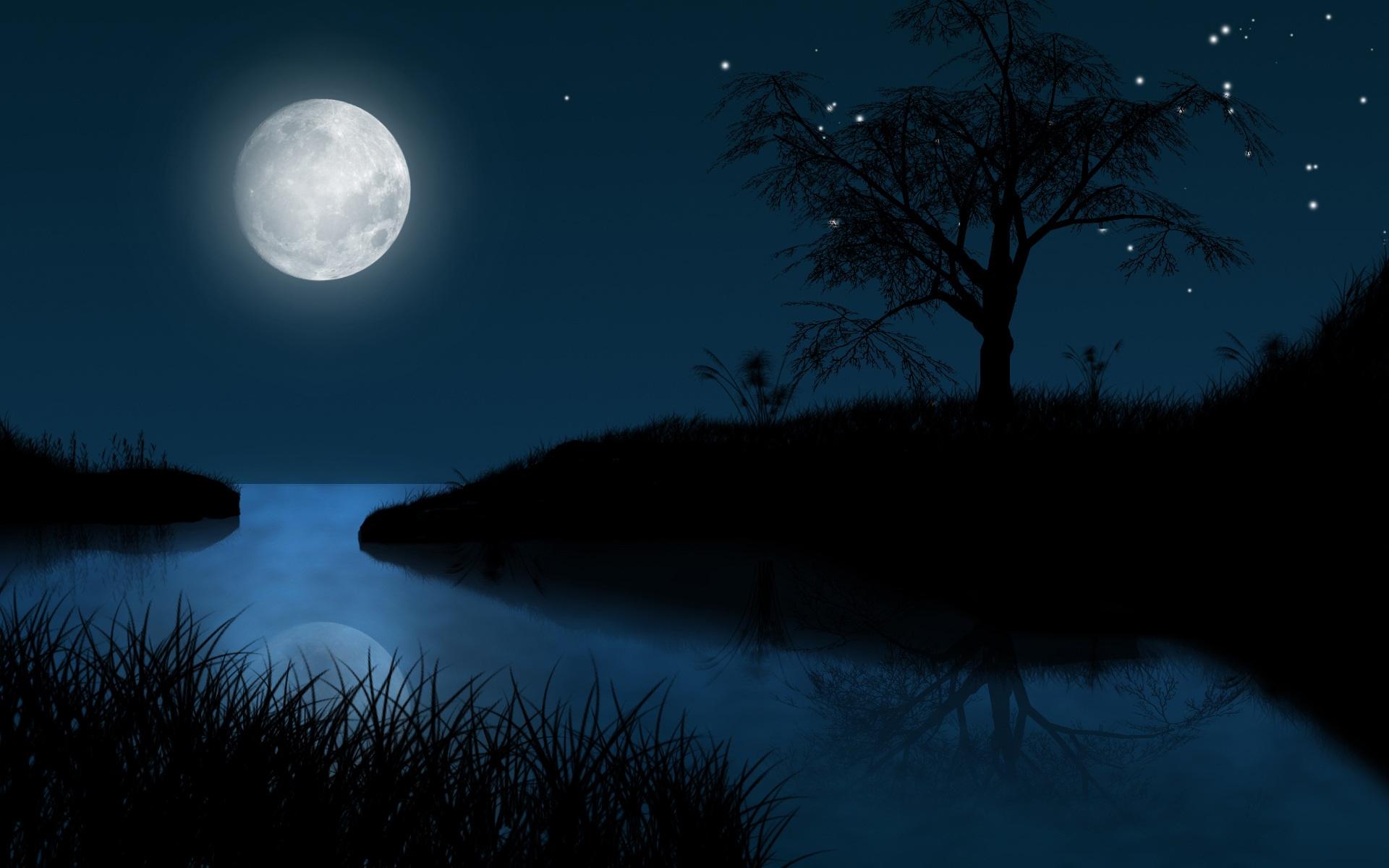 Night clipart full moon night. Panda free images