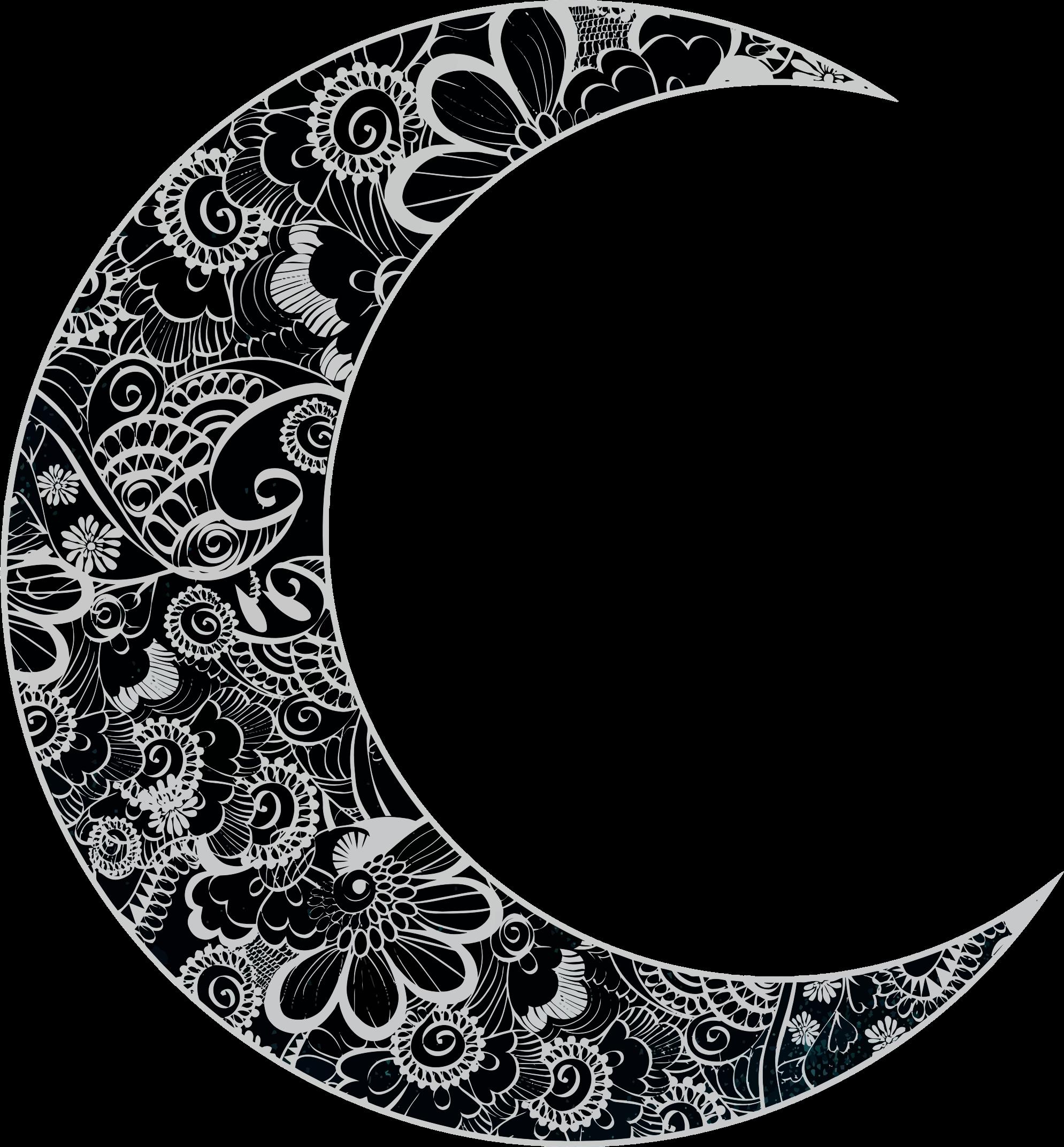 Floral crescent big image. Clipart moon pdf