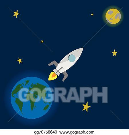 Eps vector launch to. Clipart rocket moon rocket