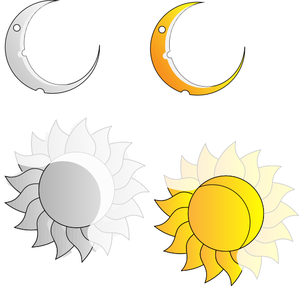 And sun clip art. Clipart moon route