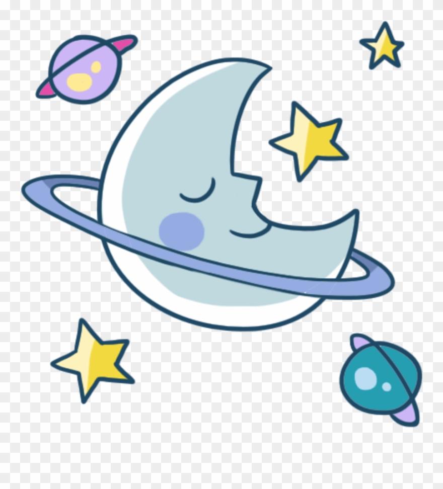 Cute star night meteor. Clipart moon sleep