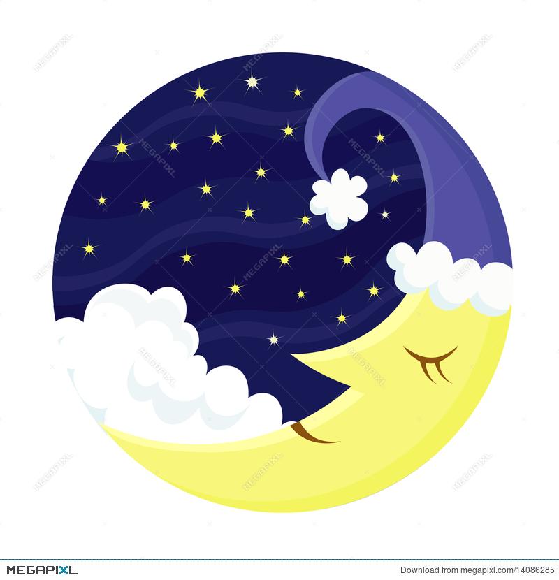 Clipart moon sleep. Cute sleeping illustration megapixl