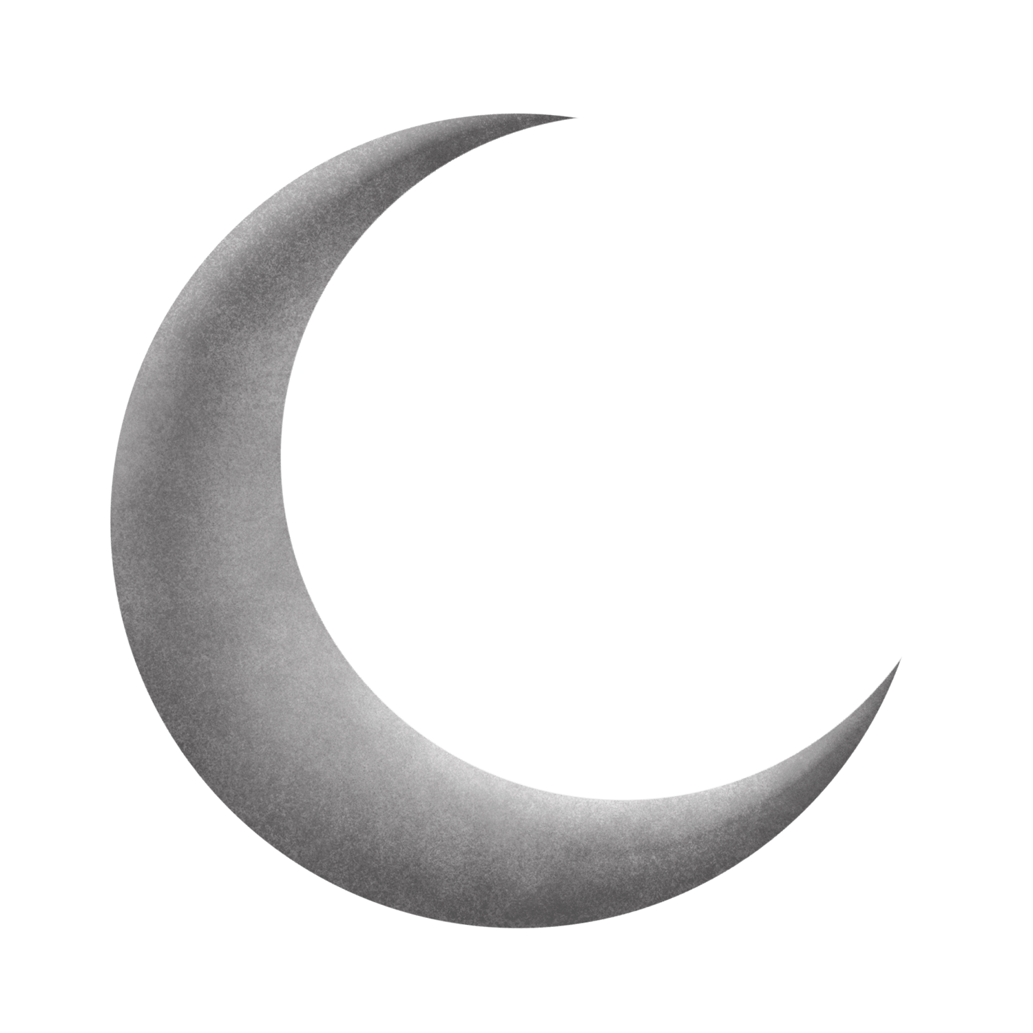 Silver grey crescent png. Clipart moon transparent background