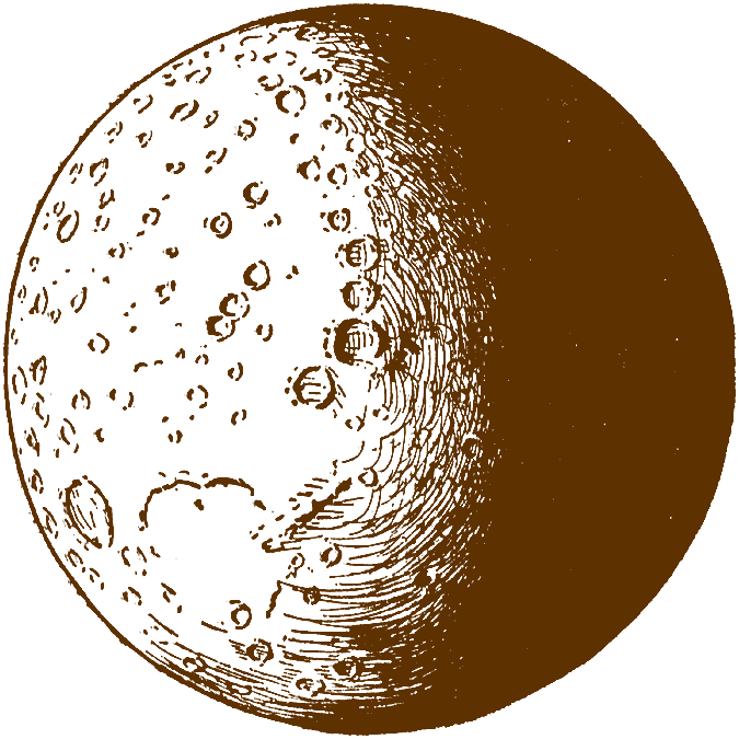 Pencil and in color. Clipart moon vintage