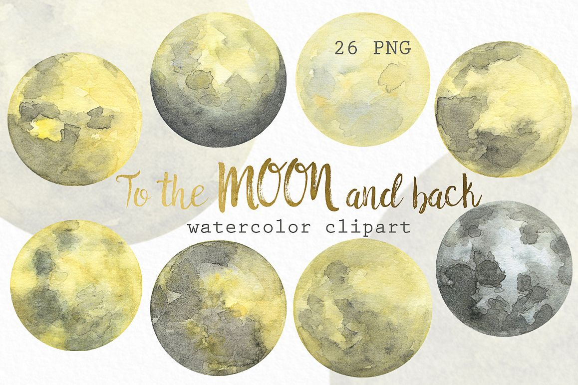 Phases . Clipart moon watercolor