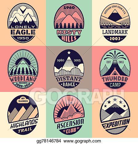 Clipart mountain badge. Vector art set color