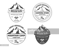 Clipart mountain badge. Set of monochrome outdoor