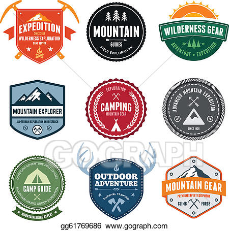 Vector art badges eps. Clipart mountain badge