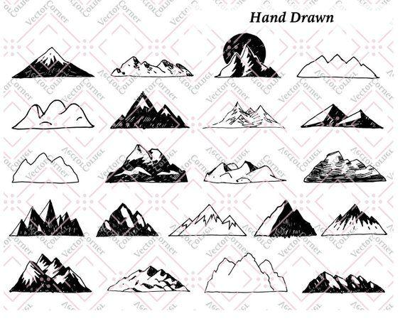 Hand drawn clip art. Mountain clipart doodle