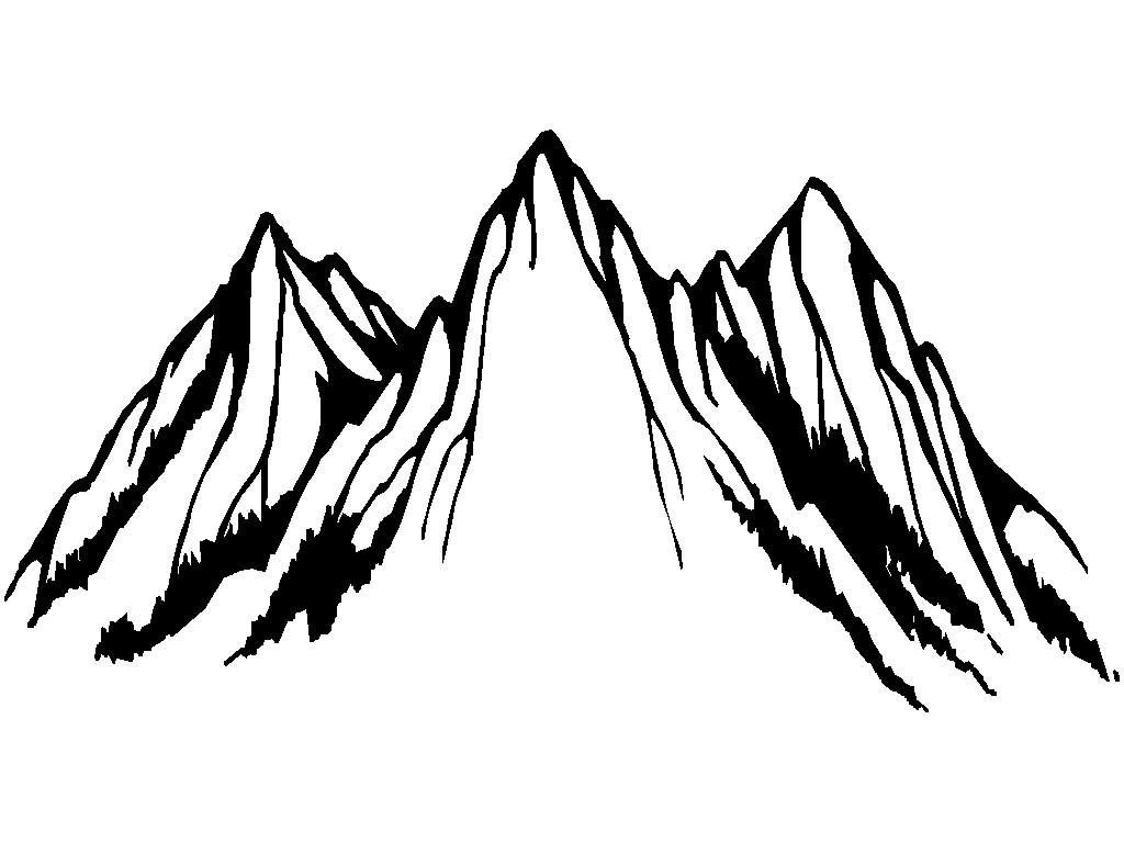 Black and white at. Clipart mountain drawing