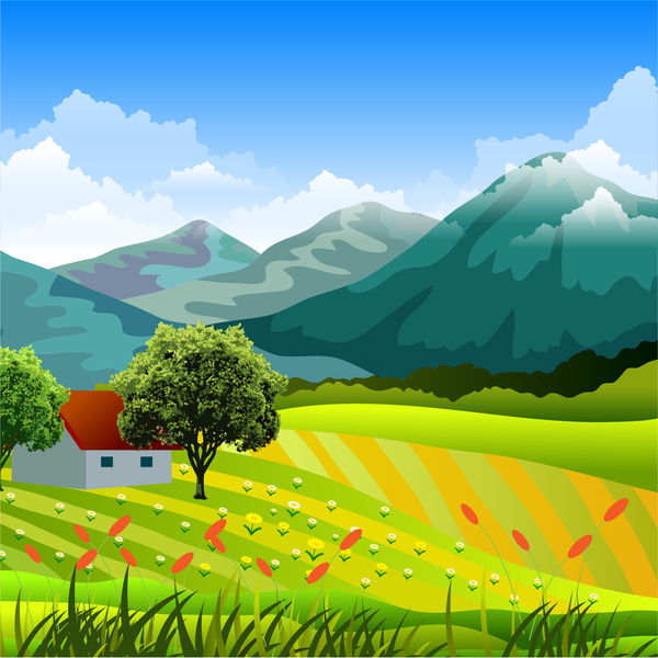 Countryside landscape with mountain. Clipart mountains grass