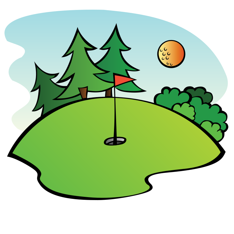 Golfing clipart golf field. Green panda free images