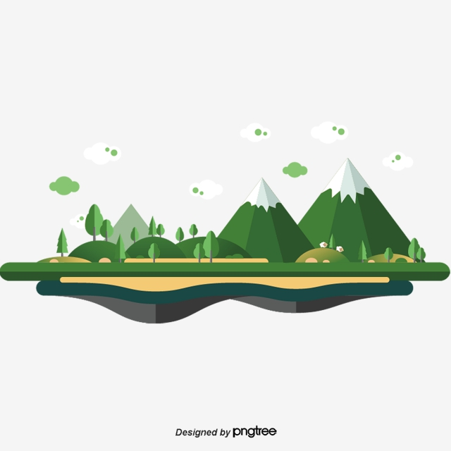 Vector cartoon three hills. Hill clipart moutain