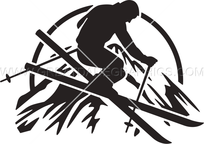 Skier production ready artwork. Clipart mountains black and white
