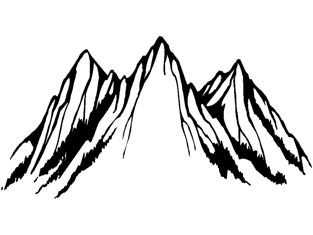 Free line art download. Mountain clipart outline
