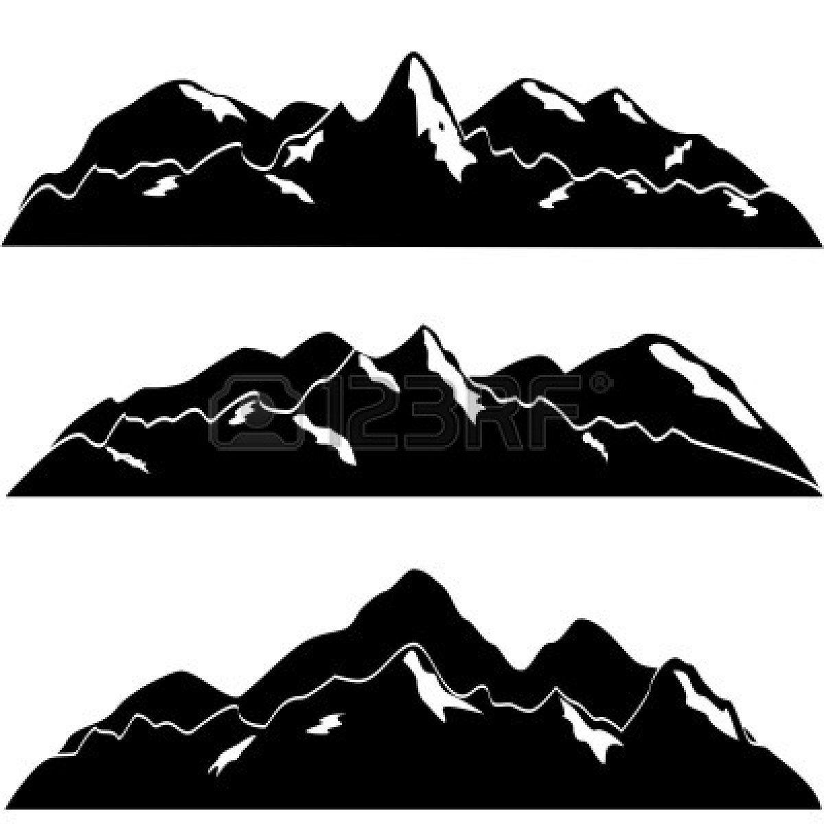Mountain clipart mountain range. River clip art black
