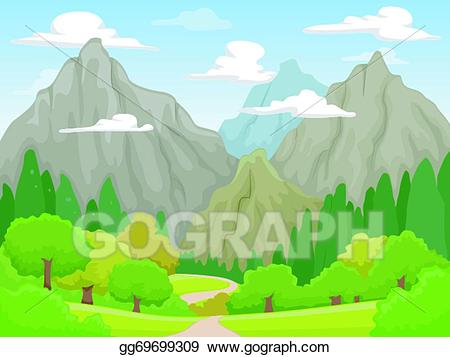 Clipart mountain mountain scenery. Vector illustration eps