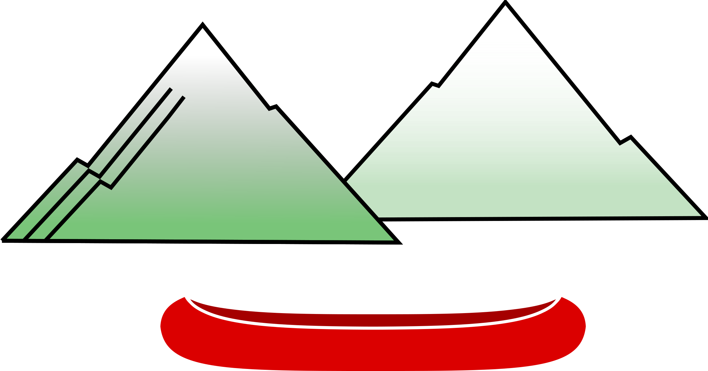 Canoe with big image. Clipart mountains vector