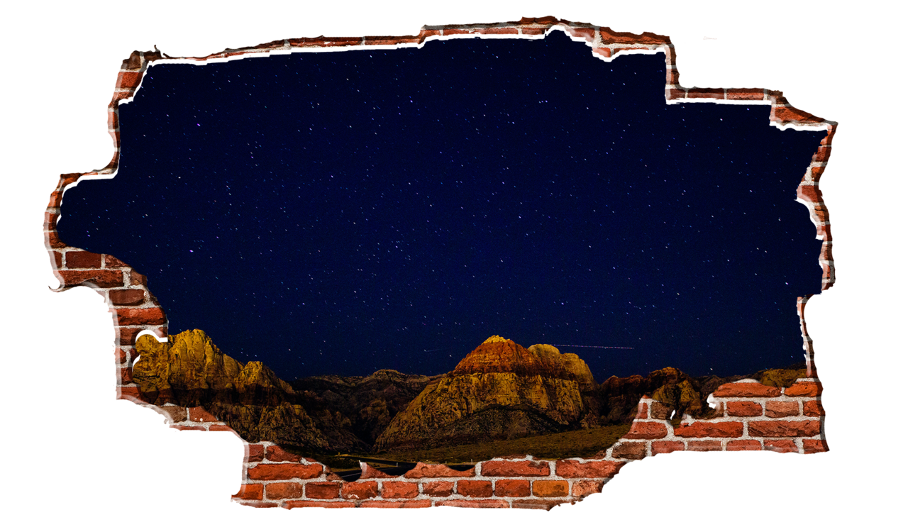 Starry red rock mountain. Night clipart night nature