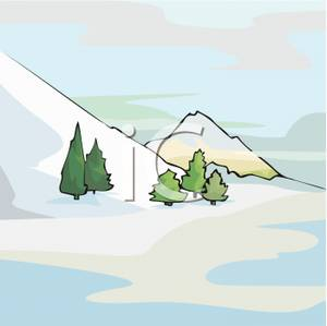Hills clipart mountain slope. Trees at the base