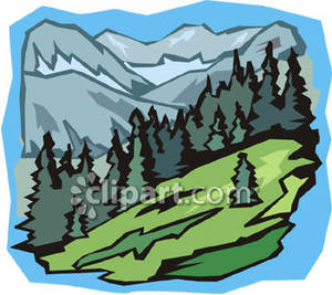 Hills clipart mountain slope. Forested royalty free picture