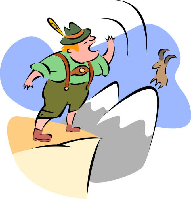 Yodeling swiss mountaineer vector. Clipart mountains mountaineering