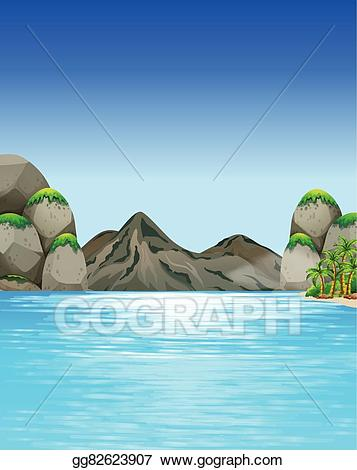 Clipart mountains ocean. Vector stock scene with