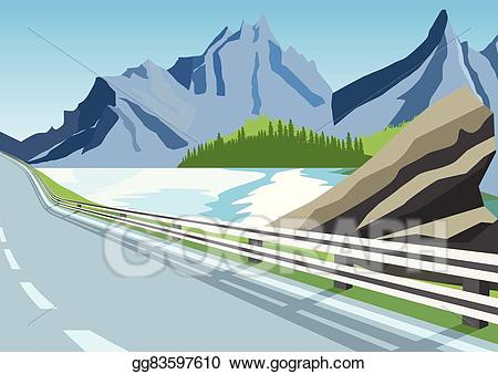 Eps vector winding road. Clipart mountains ocean