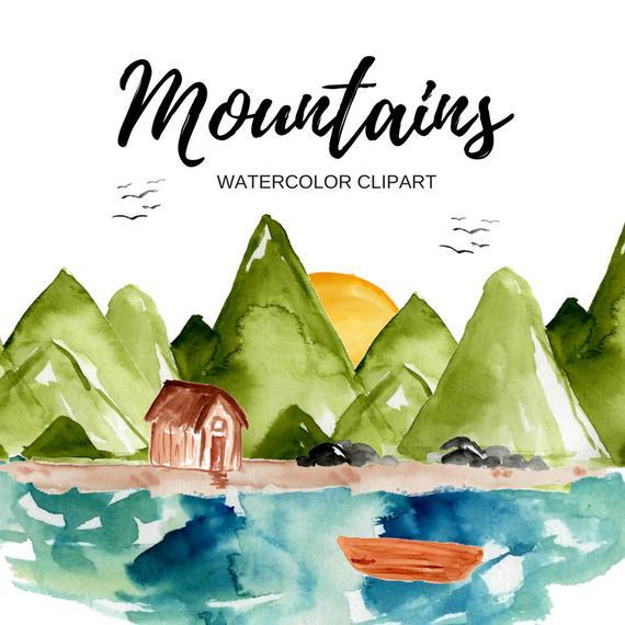 Mountain watercolor outdoor nature. Mountains clipart outdoors