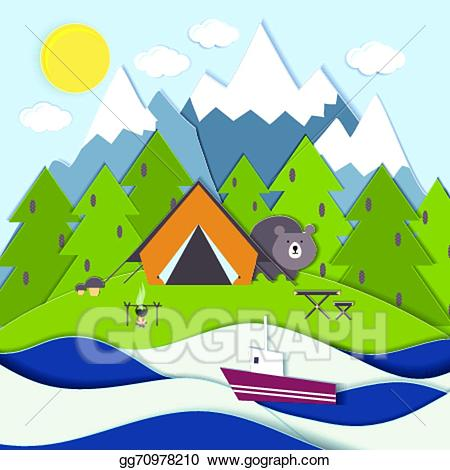 Mountain clipart picnic. Vector on the shore