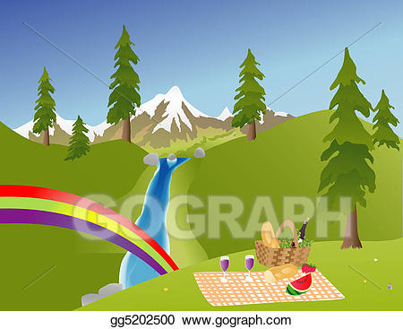 Clip art in the. Mountain clipart picnic