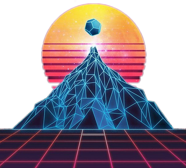 S neon futuristic. Clipart mountain retro