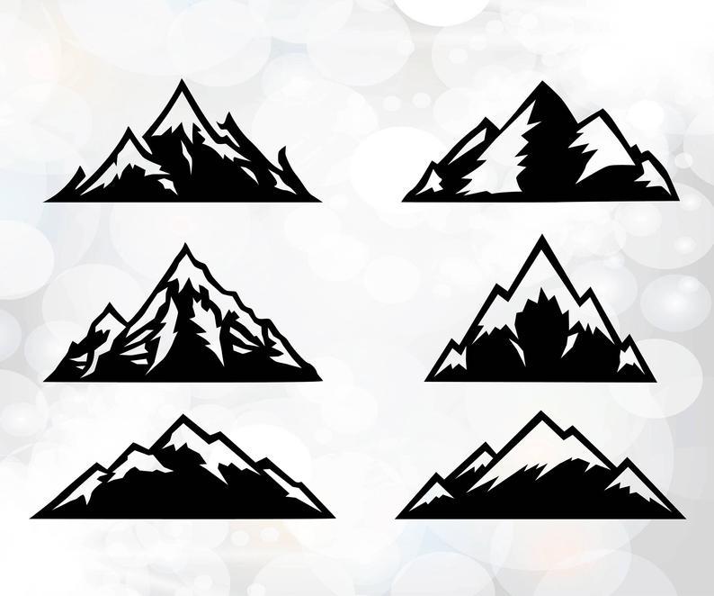 Svg cut files cricut. Mountain clipart silhouette