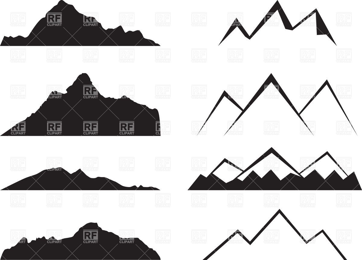 Mountain silhouettes vector image. Mountains clipart simple