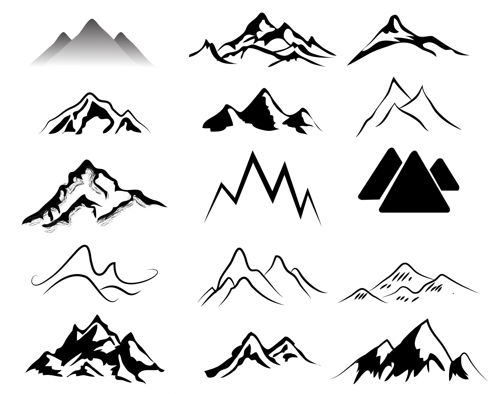 Mountain black and white. Mountains clipart simple