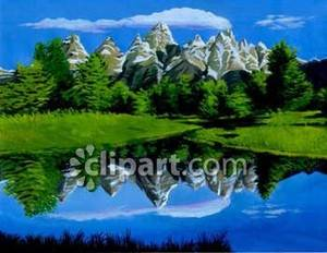 Lake in the royalty. Clipart mountain spring