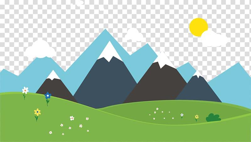 Landscape art grassland mountain. Clipart mountains transparent background