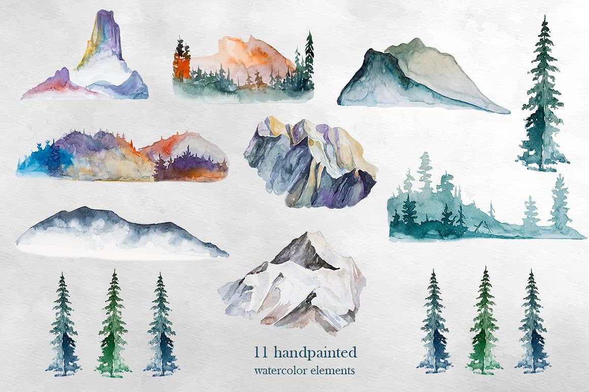 By artcreationsdesign on . Mountains clipart watercolor