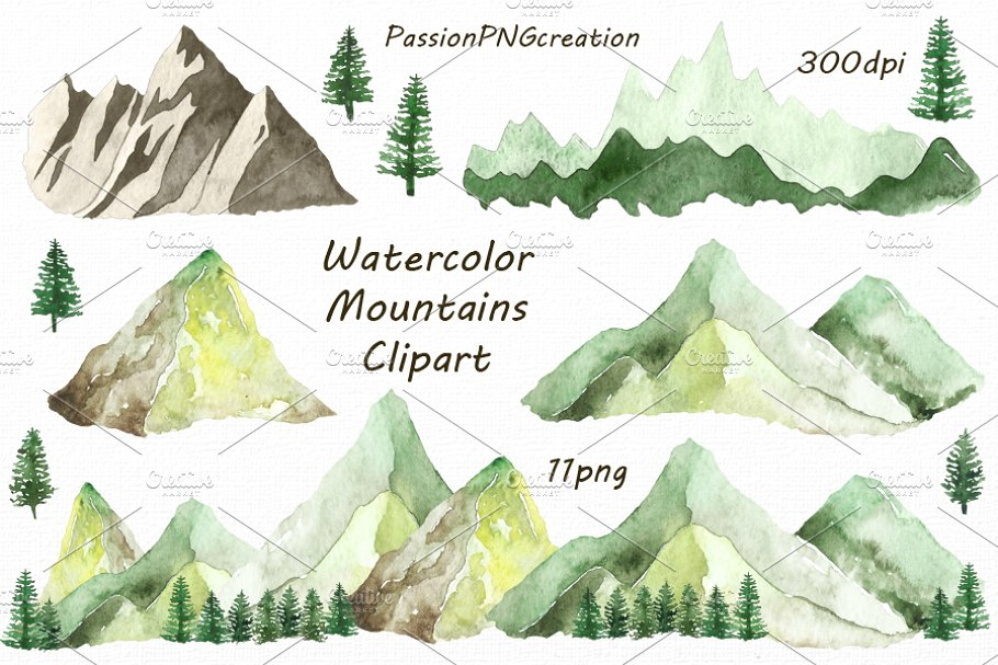 Clipart mountains watercolor.