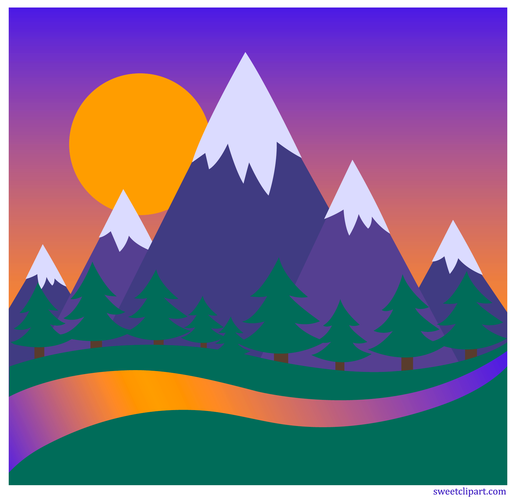 And forest clip art. Sunset clipart mountains
