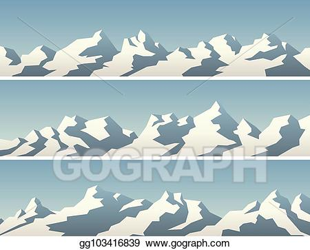 Vector illustration set of. Clipart mountains banner