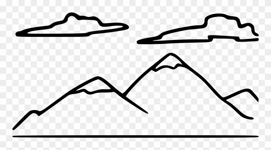 Clipart mountains black and white. Medium image clip art