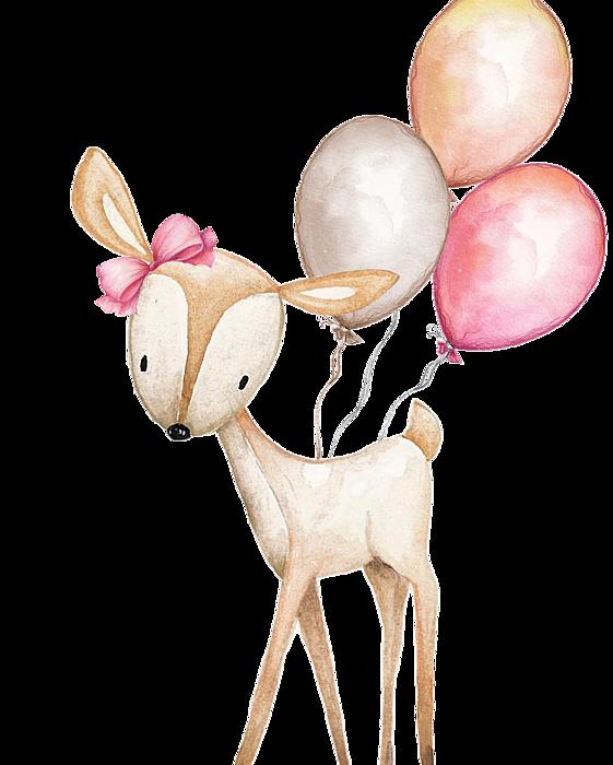 Mountains clipart boho. Deer with balloons beach