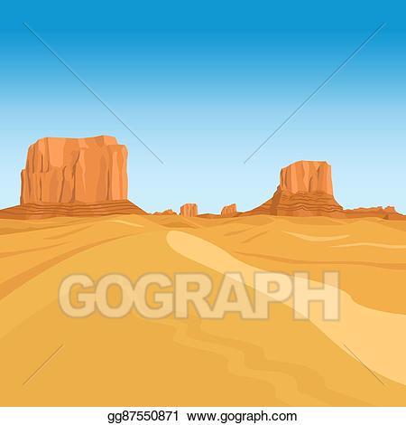 Vector art mountains background. Desert clipart desert landscape