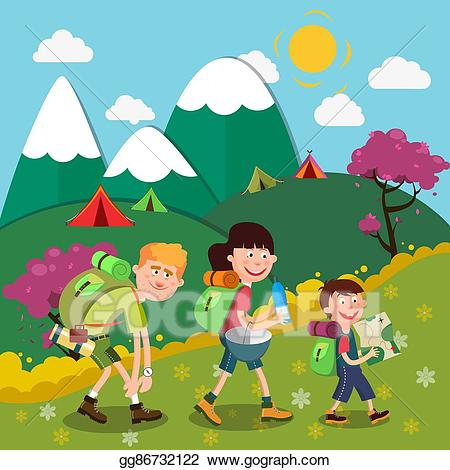 Hiker clipart family hike. Vector happy hiking on